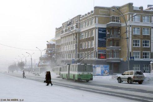 -39 C in una strada di Novosibirsk