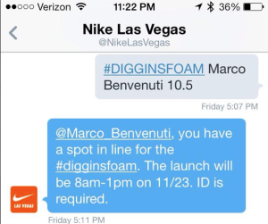 Il tweet di risposta di Nike: abbiamo vinto la possibilità di acquistare le scarpe