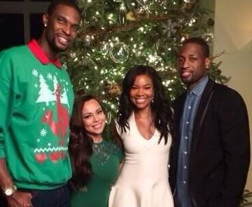Da sinistra Bosh, la moglie, la fidanzata di Wade e D-Wade
