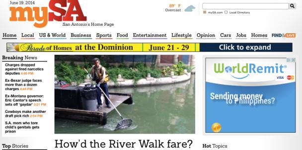 L'homepage del San Antonio Express